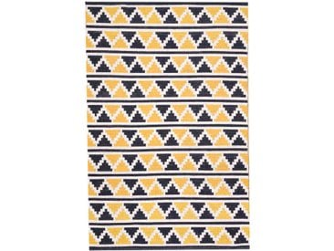 Tapis ethnique coton motif mosaïque bleu et jaune 140x200cm VERA