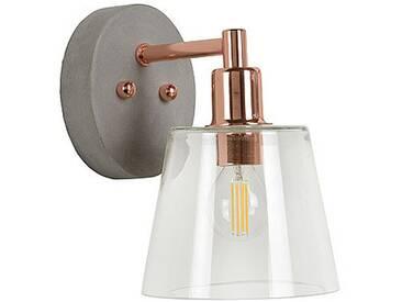 Applique industrielle en métal cuivré et diffuseur en verre transparent VITRI
