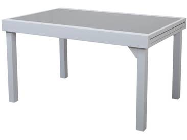 Table de jardin extensible aluminium double plateau verre 135/270x90cm MODENA