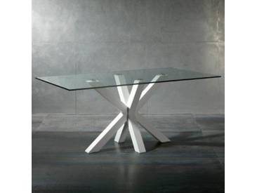 Table à manger en verre avec piétement acier laqué L180cm BURNLEY