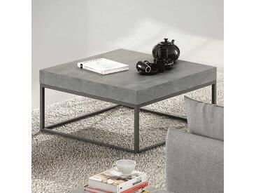 Table basse design carrée bois effet béton / métal L75cm PETRA