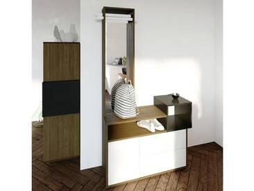 Meuble dentrée design en bois avec rangements et miroir KUBE