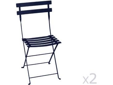 Chaise pliante FERMOB acier laqué bleu (x2) BISTRO