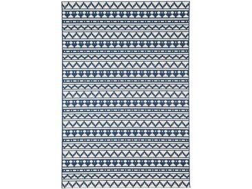 Tapis bleu ethnique à motif mosaïque 80x200cm IMANI