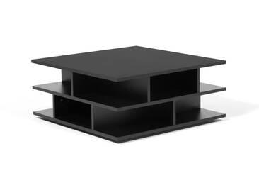 Table basse carrée en bois noir multicases TOWER