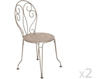Chaise de jardin empilable FERMOB en acier - assise perforée (X2) muscade MONTMARTRE