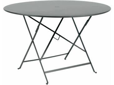 Table de jardin FERMOB ronde pliante D.117cm acier gris orage BISTRO