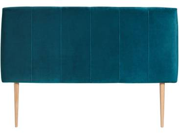 Tête de lit velours extra doux vert et pieds scandinaves KARL