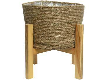 Cache-pot en feuille de Maïs Ø 41 cm/Support en bois H. 41 cm NATURE