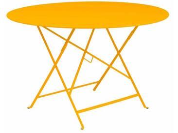 Table de jardin FERMOB ronde pliante acier laqué jaune 117cm BISTRO