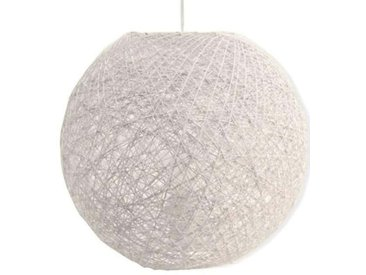 Suspension boule en rotin tressé ajouré blanc KIROU