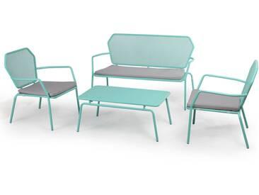 salon de jardin bas 4 places en acier bleu OASIS
