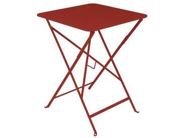 Table de jardin FERMOB carrée pliante 57x57 cm acier laqué piment despelette BISTRO