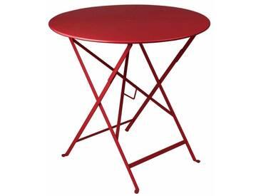 Table de jardin FERMOB ronde pliante D.77cm acier laqué piment despelette BISTRO