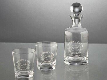 Coffret carafe et 2 verres à whisky en verre transparent CLUB