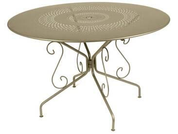 Table de jardin FERMOB ronde Acier - Plateau de table perforé et volutes 117 cm muscade MONTMARTRE