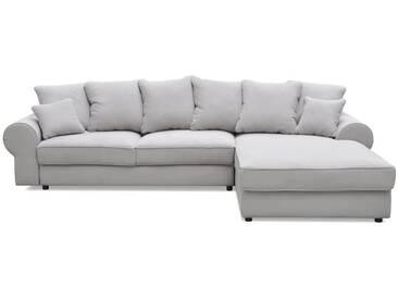 Canapé dangle droit convertible 4 places en tissu gris clair HALGEN