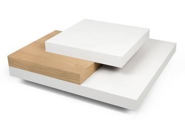 Table basse carrée design en bois blanc et chêne L90cm SLATO