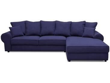 Canapé dangle droit convertible 4 places en tissu bleu HALGEN