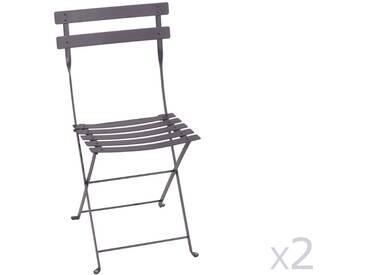 Chaise pliante FERMOB en acier laqué prine (x2) BISTRO