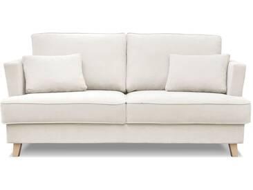 Canapé en tissu avec pieds en bois NARVIK beige et blanc 2 places