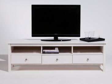 Meuble TV bas en bois massif 3 tiroirs L158cm BERNA blanc