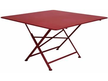 Table de jardin FERMOB carrée pliante en acier 8 personnes 130x130cm piment despelette CARGO