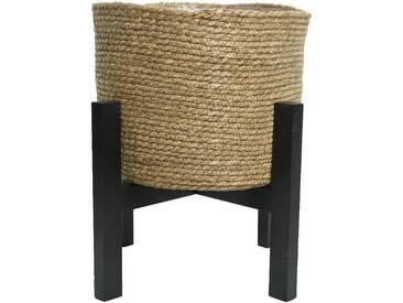 Cache-pot en feuille de Maïs Ø 41 cm/Support en bois H. 41 cm EBENE