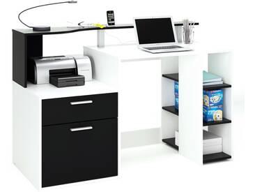 Bureau informatique en bois blanc avec 1 tiroir, 1 porte et 1étagère OSCAR
