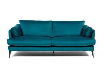 Canapé 3 places en velours bleu vert avec pieds métal CARDINAL