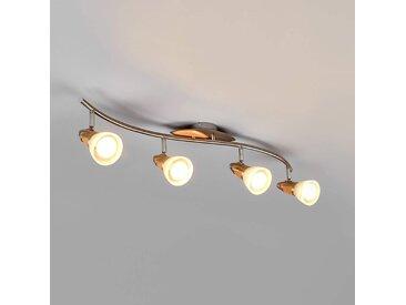 Plafonnier LED en bois Marena à 4 lampes, E14– LAMPENWELT.com