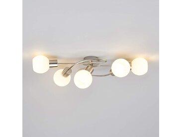 Beau plafonnier LED Elaina à 5 lampes, nickel mat– LAMPENWELT.com