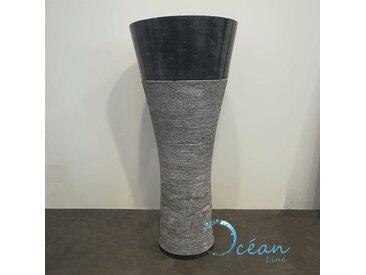 Vasque sur pied en marbre poli noir - Clara