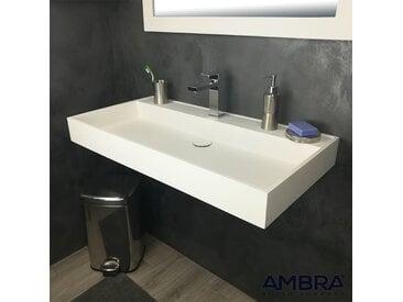 Vasque 90 cm suspendue ou à poser,  en Solid surface - Malaga