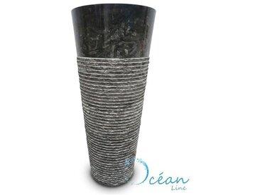 Colonne, Vasque sur pied en marbre brut noir - Naga