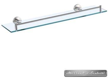 Tablette salle de bains en métal brossé et verre 52 cm - Artic