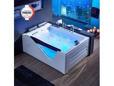 Grande baignoire balnéo rectangulaire D-Cayenne whirlpool 48 jets