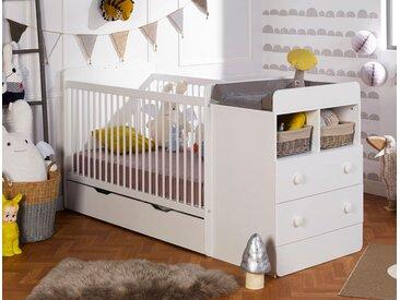 Lit bébé combiné évolutif Blanc Malte 70x140 - chambrekids.com
