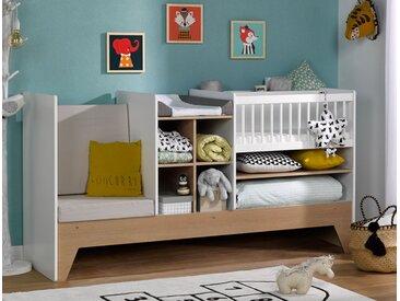 Lit bébé combiné évolutif blanc & bois Ecrin - chambrekids.com