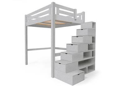 Lit Mezzanine Alpage bois + escalier cube hauteur réglable 140x200cm Gris Aluminium