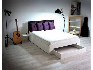 Lit Happy + tiroirs + chevets amovibles - 2 places 140x190cm Capiton Noir