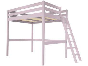 Lit Mezzanine Sylvia avec échelle bois 90x200cm Violet Pastel