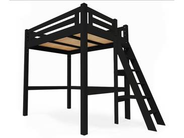 Lit Mezzanine Alpage bois + échelle hauteur réglable 140x200cm Noir