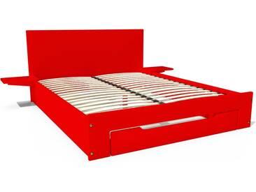Lit Happy + tiroirs + chevets amovibles - 2 places 140x200cm Rouge