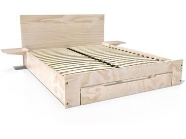 Lit Happy + tiroirs + chevets amovibles - 2 places 160x200cm Brut