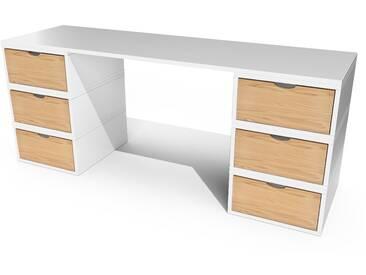Bureau Cube long 6 tiroirs  Blanc/Miel