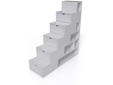 Escalier Cube de rangement hauteur 150 cm MDF  Gris Aluminium