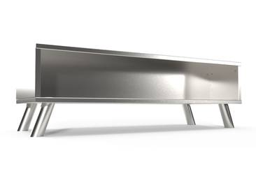 Table Basse Scandinave rectangulaire Viking bois  Gris Aluminium