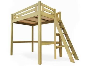 Lit Mezzanine Alpage bois + échelle hauteur réglable 120x200cm Miel