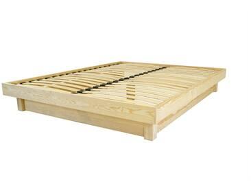 Lit plateforme bois massif pas cher 140x200cm Brut